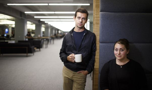 Square's CEO Jack Dorsey and Global Facilities Manager Maja Henderson are shown at the company's new headquarters in San Francisco, Calif. The mobile-payments startup boasting $340 million in venture capital is just down the street from Twitter Inc.