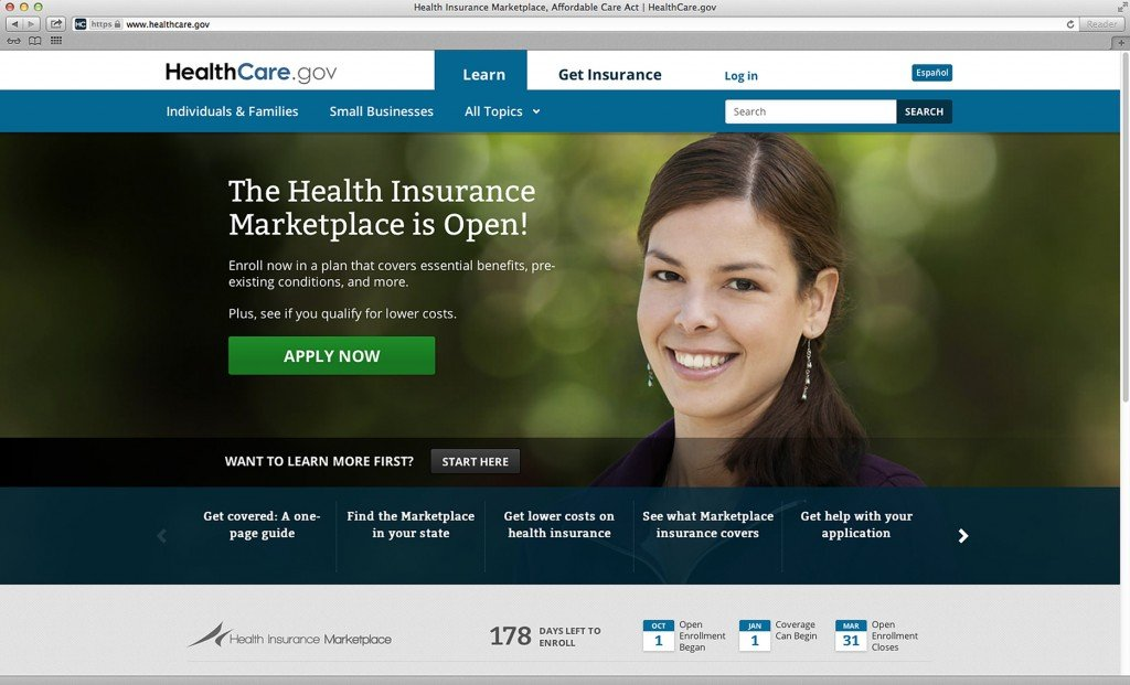 This photo provided by the Department of Health and Human Services shows the main landing web page for HealthCare.gov.