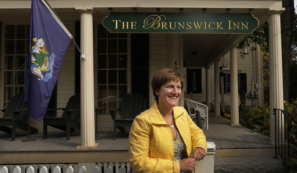The Brunswick Inn, owned by Eileen Horner, above, operates in a historic 1848 Federal-style house on the town's stately Park Row. It has been in operation as an inn since 1984 and under its current name since 2007.