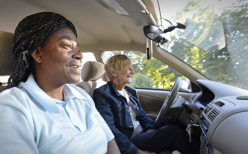 Ann Lilljedahl of Cape Elizabeth drives Portland resident Valerie Kibala from a South Portland bus stop to where she works in Cape Elizabeth. Kibala's long daily commute includes two buses each way to and from her home in Portland. Lilljedahl is one of three volunteer drivers to help Kibala.