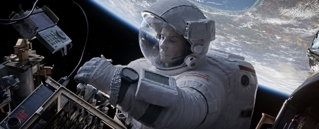 """Sandra Bullock takes a spacewalk in this still image of a scene in the movie """"Gravity."""""""