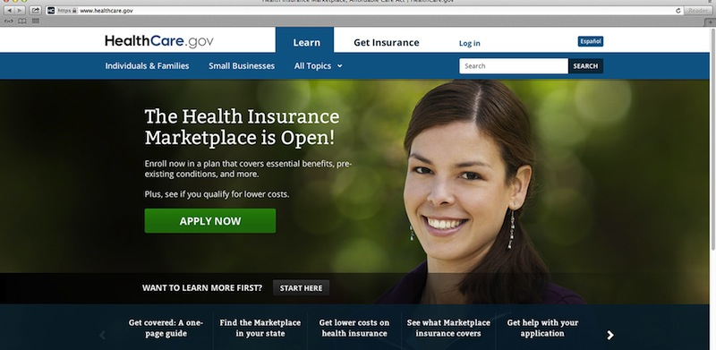 This photo provided by HHS shows the main landing web page for HealthCare.gov. The Affordable Care Act's health insurance marketplace has been open since Oct. 1, but it's still unclear how many people have signed up in Maine and other states. It does appear interest is high, but website glitches have also plagued the rollout. (AP Photo/HHS)
