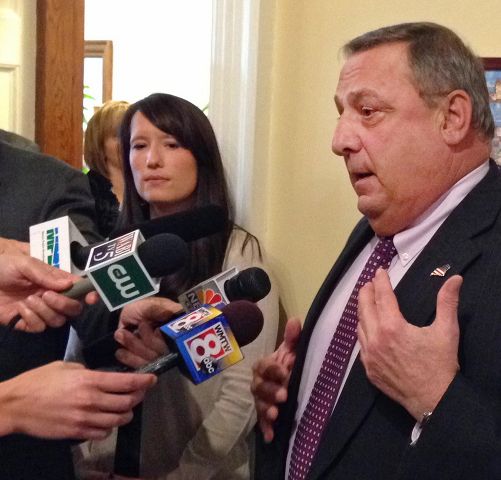 "Gov. LePage speaks to the media last Thursday after meeting with Democratic leaders at the State House to discuss his reasons for declaring a civil emergency. A reader says that the declaration gave Mainers ""something new to be embarrassed about."""