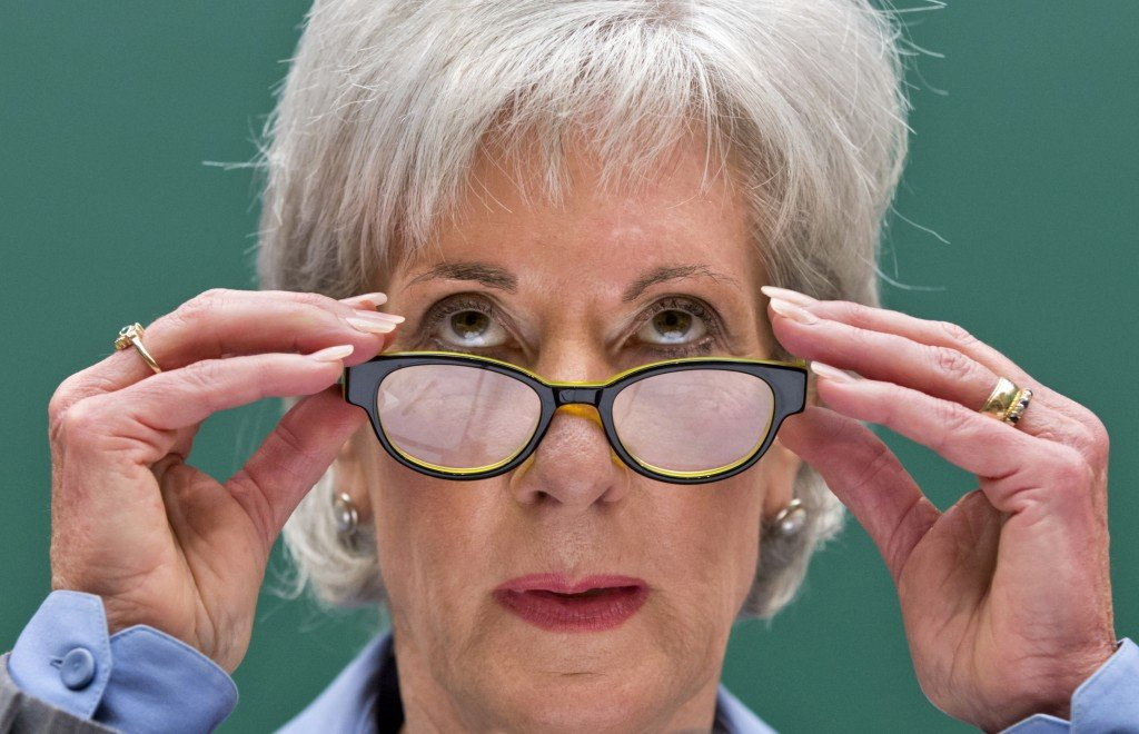 "Health and Human Services Secretary Kathleen Sebelius testifies on Capitol Hill in Washington Wednesday about what she called the healthcare.gov website ""debacle."""