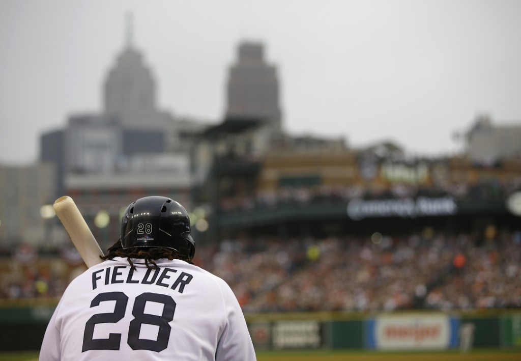 Detroit Tigers' Prince Fielder waits to hit in the fourth inning during Game 3 of the American League baseball championship series against the Boston Red Sox Tuesday, Oct. 15, 2013, in Detroit.
