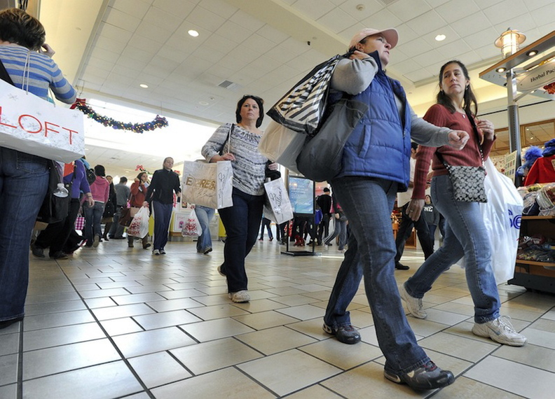 In this November 2011 file photo, Black Friday shoppers are out in force at the Maine Mall in South Portland.