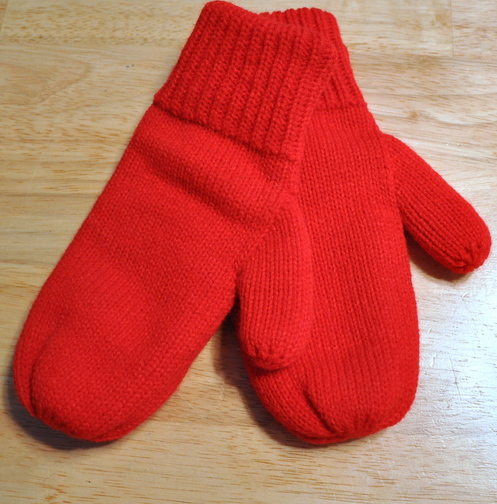 Hand-knit mittens from Three Kittens Knitting