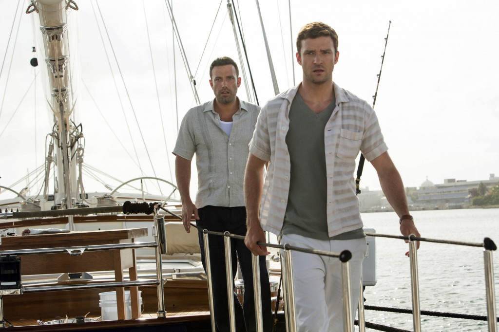 "Ben Affleck, left, and Justin Timberlake in ""Runner Runner."""