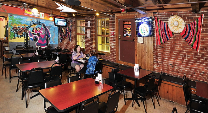 Mexican embellishments brighten the Biddeford downstairs eatery Los Tapatios.