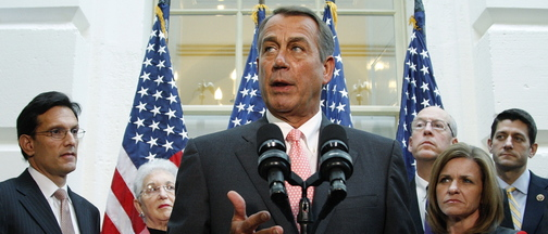 U.S. House Speaker John Boehner stands with fellow Republican House leaders as he addresses reporters in Washington, D.C., on Oct. 10. House Republicans speak well of Boehner but many refuse to follow him.