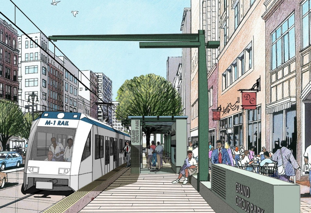 This drawing shows a proposed 3.3-mile streetcar line in downtown Detroit. Some residents fear it will be another People Mover, an earlier project that failed to help the city.