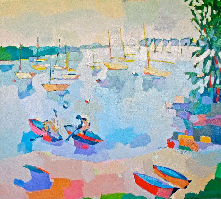 """Row Boats, Belfast Harbor,"" by Henry Isaacs. oil, 48 x 54 inches"