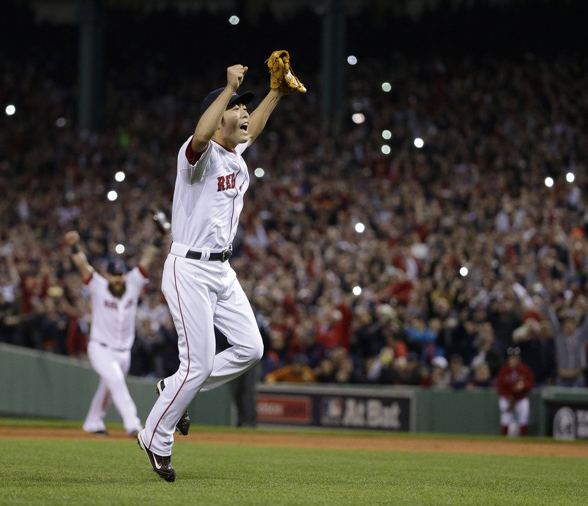 The Associated Press Boston Red Sox relief pitcher Koji Uehara celebrates after the Red Sox beat the Detroit Tigers 5-2 in Game 6 of the ALCS on Saturday. Uehara was named the series' most valuable player as the Red Sox advanced to the World Series.