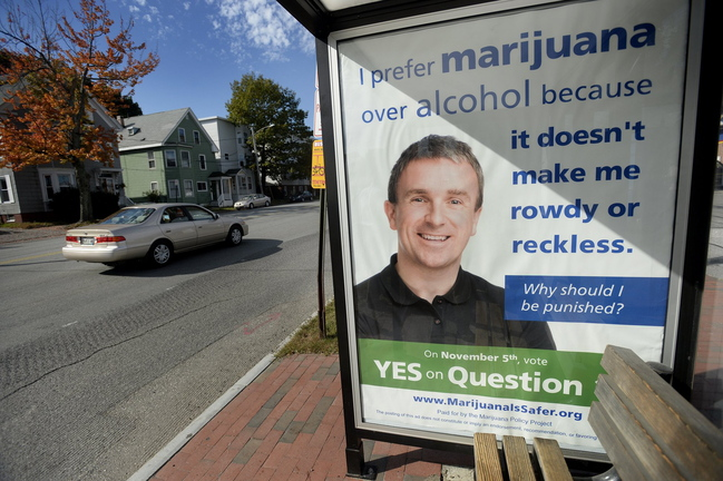 A bus shelter in Portland displays a Marijuana Policy Project political message in support of a referendum instructing city police not to arrest people over 21 for the possession and use of marijuana. The ads, placed on city buses and in city bus shelters, have become controversial.