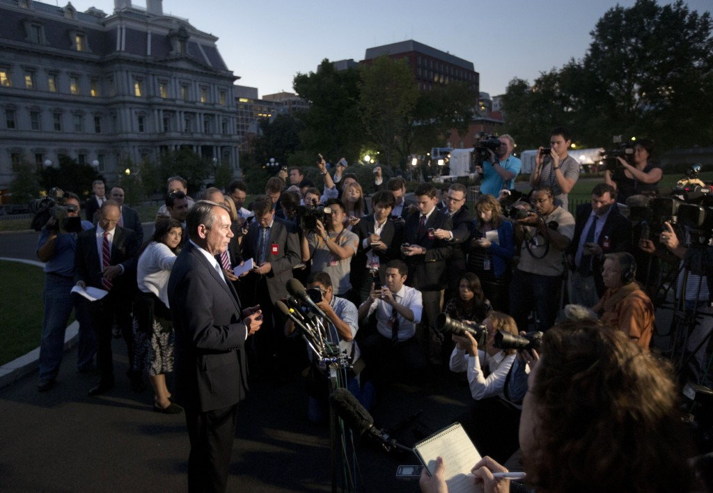 House Speaker John Boehner, R-Ohio, speaks to reporters following a meeting with President Barack Obama at the White House in Washington, Wednesday, Oct. 2, 2013. Obama and congressional leaders met at the White House on the second day of a partial government shutdown.