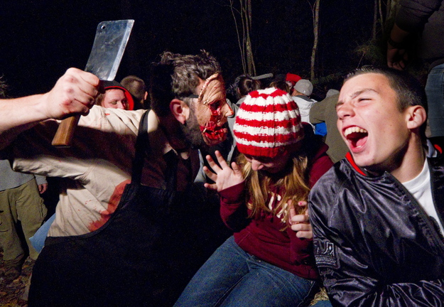 Ghouls come out of the dark to scare riders on the Haunted Hayride in Scarborough in 2011.