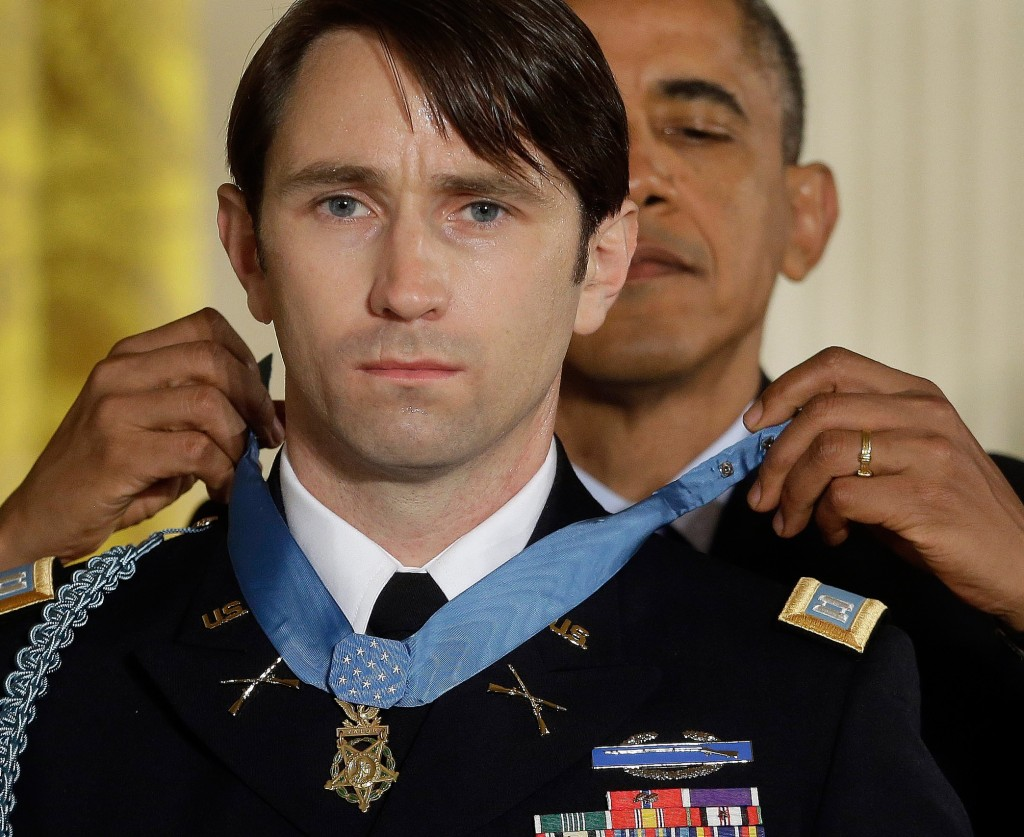 President Obama awards the Medal of Honor to former Army Capt. William D. Swenson of Seattle during a ceremony in the East Room at the White House.