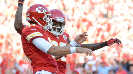 Quarterback Alex Smith, left, receiver Dwayne Bowe and the rest of their teammates have had plenty of reason to celebrate during Kansas City's surprising 7-0 start.