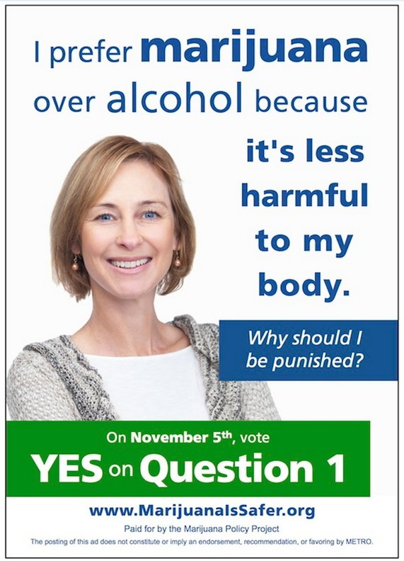 Photo: Marijuana Policy Project Supporters of Question 1, the ballot initiative to remove penalties for adult marijuana possession in Portland, are launching a series of ads on METRO buses and bus shelters that promote marijuana as safer than alcohol. Oct. 1, 2013.