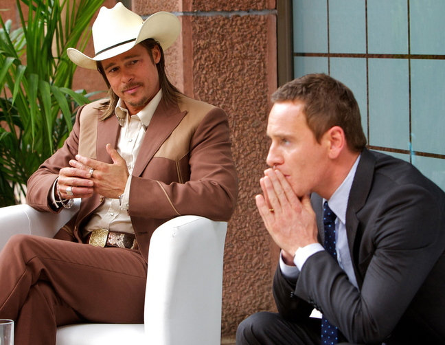 "Michael Fassbender with Brad Pitt in ""The Counselor."""