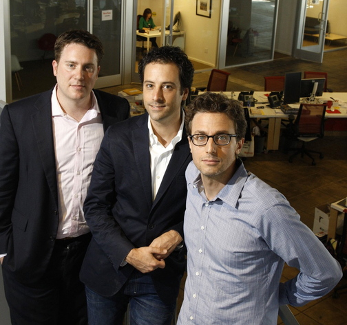 BuzzFeed Editor-In-Chief Ben Smith, left, President and Chief Operating Officer Jon Steinberg, center, and founder and CEO Jonah Peretti appear in their offices in Los Angeles.
