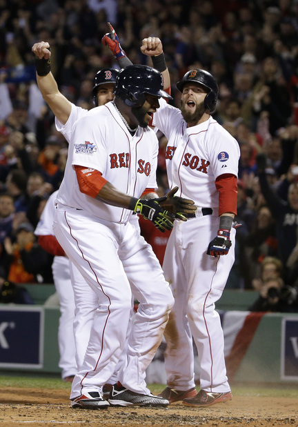 One of those nights at Fenway Park. Everything going right, everyone pleased. But this one came Wednesday in Game 1 of the World Series. David Ortiz, front, celebrates with Dustin Pedroia, right, and Jacoby Ellsbury after scoring on Mike Napoli's three-run double in the first of Game 1.