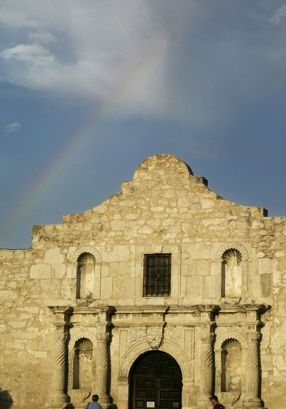 The Alamo sits in downtown San Antonio, Texas, where a display of long guns is planned for Saturday.