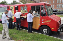 Photo by Gordon Chibroski, Staff Photographer. El Corazon Food Truck at the corner of Temple and Spring Street in Portland, summer 2013.