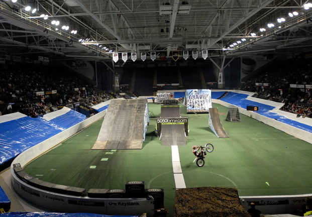 Cumberland County Civic Center schedulers are working to line up events to replace Portland Pirates hockey home games, looking for activities such as this Gravity Slashers motocross exhibition in January 2010.