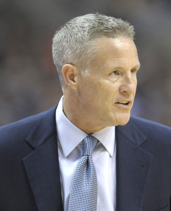 Philadelphia Coach Brett Brown watches as his team earns a win during his debut with the 76ers Wednesday.