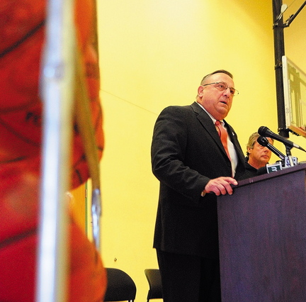Gov. Paul LePage speaks during an event announcing this year's Taylor Tip Off on Thursday at the Kennebec Valley YMCA in Augusta. The event has raised $60,000 since 2009.