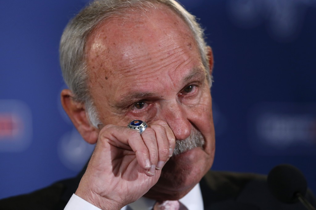 Detroit Tigers baseball manager Jim Leyland announces he is stepping down as manager during a news conference at Comerica Park in Detroit, Monday, Oct. 21, 2013.