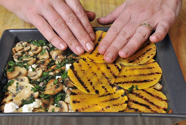 Another layer of grilled butternut squash is added to Christine Burns Rudalevige's No-Noodle Vegetable and Turkey Lasagna