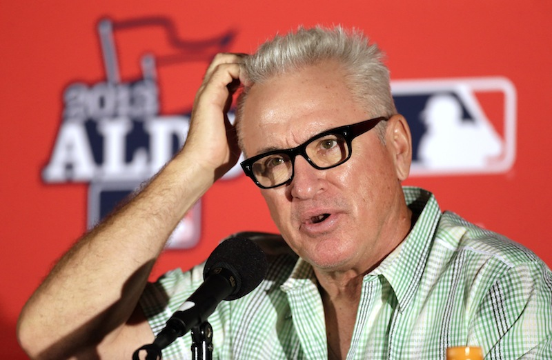 Tampa Bay Rays manager Joe Maddon scratches his head during a news conference before Monday's Game 3 of baseball's American League division series against the Boston Red Sox, Sunday, Oct. 6, 2013, in St. Petersburg, Fla. (AP Photo/Chris O'Meara) Tropicana Field;Tampa Bay Rays