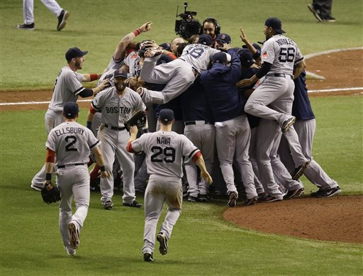 Red Sox players celebrate after defeating the Tampa Bay Rays 3-1 to win the American League division series Tuesday in St. Petersburg, Fla. Tropicana Field;Tampa Bay Rays