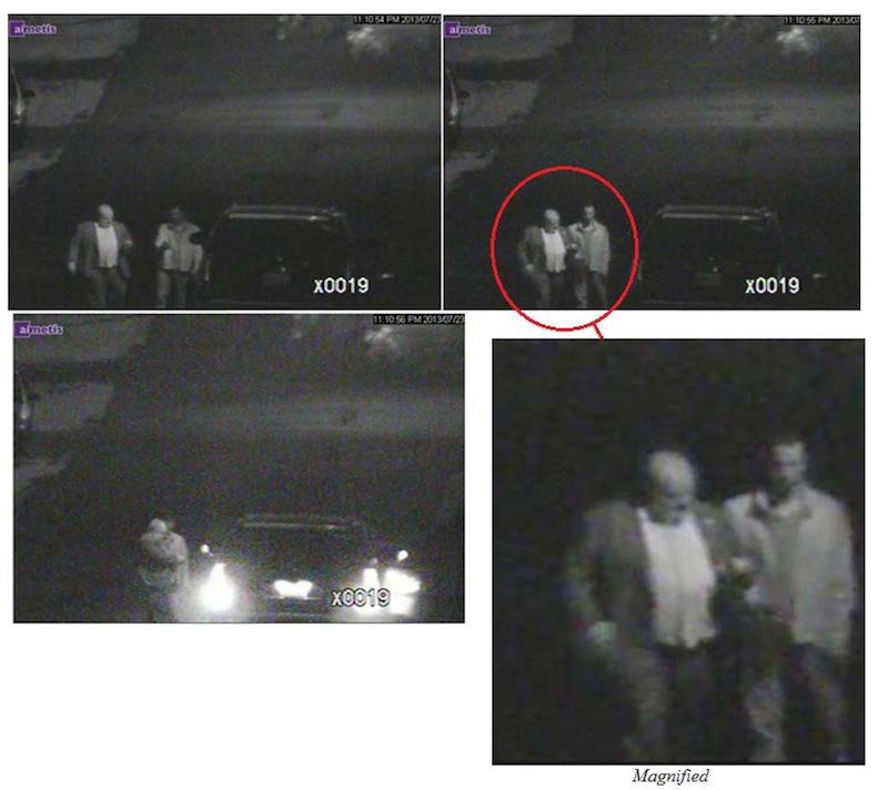 These annotated video frame grab images provided by the Toronto Police Service on Thursday, Oct. 31, 2013, show Toronto Mayor Rob Ford, left, and his close friend, Alexander Lisi. Police say they rummaged through Ford's garbage and conducted a massive surveillance operation monitoring him and Lisi following drug use allegations. The marks seen on the images were drawn by the police. Canada