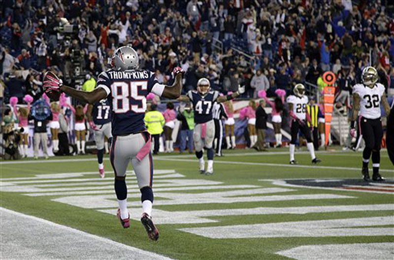 New England Patriots wide receiver Kenbrell Thompkins (85) celebrates his winning touchdown catch against New Orleans Saints in the fourth quarterSunday in Foxborough, Mass. The Patriots won 30-27.