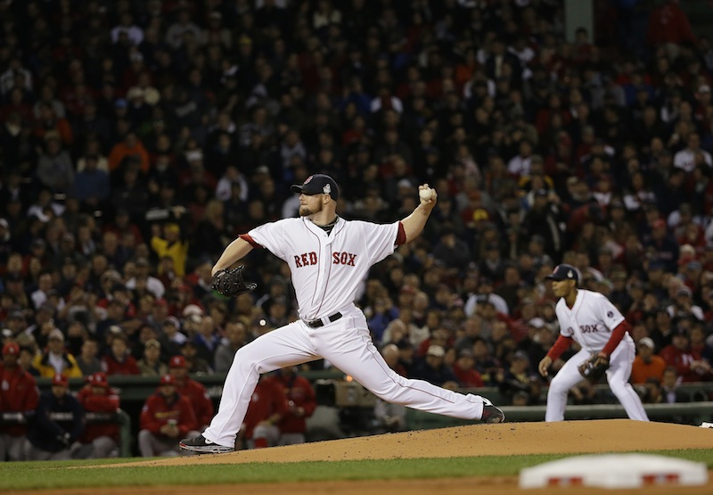 Boston Red Sox starting pitcher Jon Lester throws during the first inning of Game 1 of baseball's World Series against the St. Louis Cardinals Wednesday, Oct. 23, 2013, in Boston. MLB