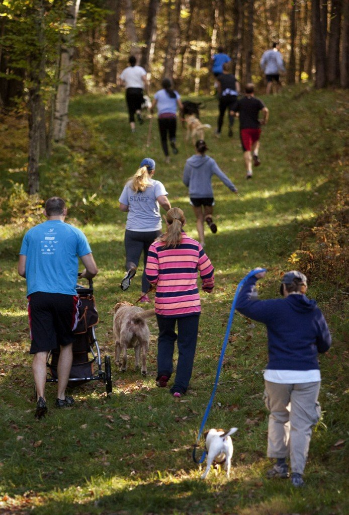 It's really all winners, the people and their canine companions, as they go through the scenic trails through the Norway woods on a lovely autumn day.