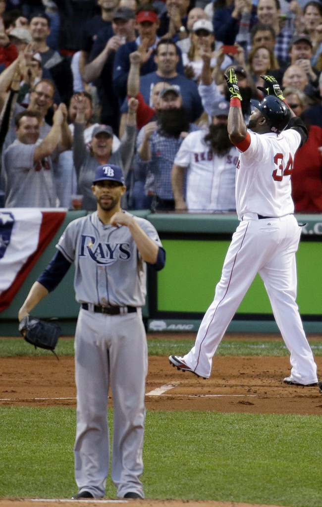 David Ortiz celebrates a homer, the Fenway Park fans celebrate, and pitcher David Price of the Tampa Bay Rays? Not so much. And that's the way it went Saturday in Boston's 7-4 victory in Game 2.