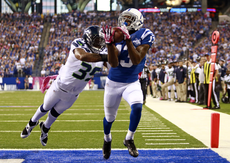 Colts wide receiver T.Y. Hilton catches a touchdown pass from Andrew Luck in the third quarter as Indianapolis came back to beat Seattle 34-28 Sunday.