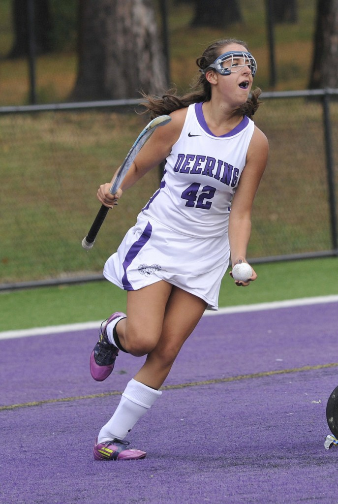 Emily Krabbe celebrates after scoring Deering's second goal of the game.