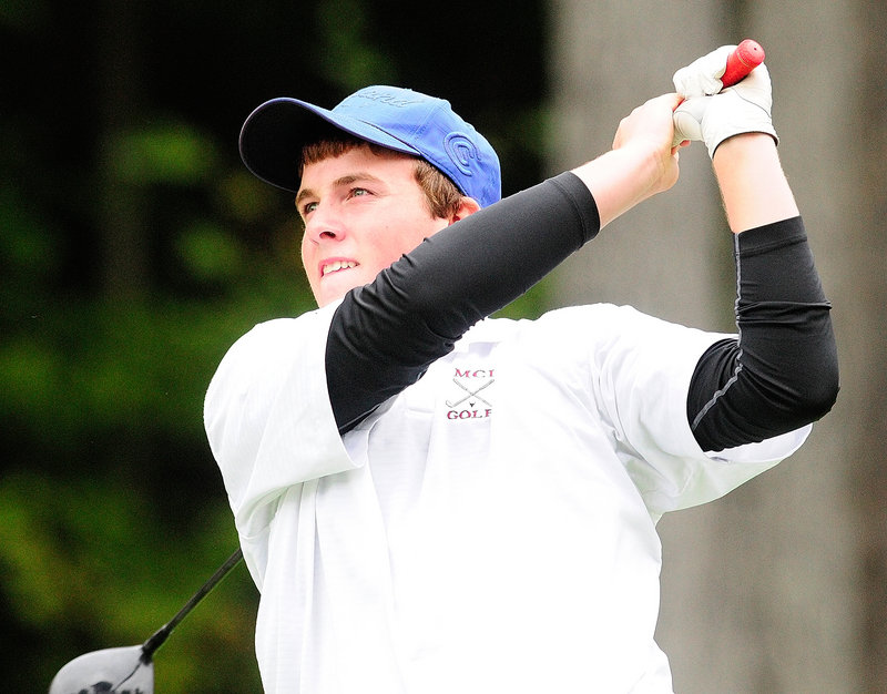 Gavin Dugas of Maine Central Institute watches a drive during the state tournament. Dugas shot a 74 as MCI tied for second but was placed third because of the tiebreaker.