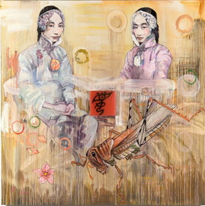 "Hung Liu's ""Relic 8,"" 2004, oil on canvas. Courtesy of Nancy Hoffman Gallery, New York."