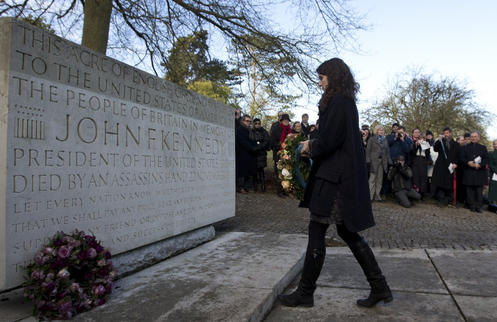 Tatiana Schlossberg, granddaughter of President J.F. Kennedy lays a wreath at his memorial at Runnymede, England on Friday. A short ceremony took place at the JFK memorial which overlooks the site of the signing of the Magna Carta in 1215.