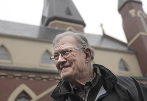 """Frank Piveronas, a Roman Catholic from South Portland, says he likes Pope Francis but disagrees with the pontiff's criticism of trickle-down economics. """"A rising tide lifts all boats,"""" he said Wednesday before a Mass in Portland."""