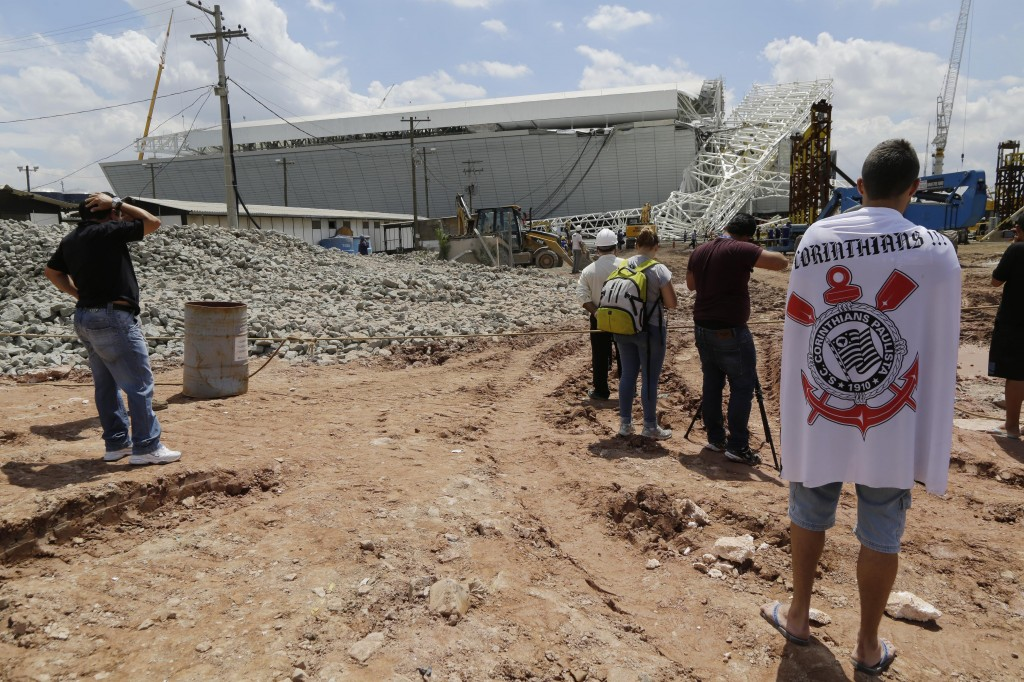 Part of the Itaquerao stadium that will host the 2014 World Cup opener in Brazil collapsed Wednesday.