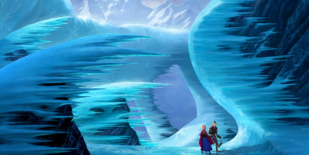 "Anna and Kristoff in a scene from ""Frozen."""