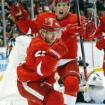 Tomas Tatar of the Detroit Red Wings celebrates a second-period goal Wednesday night – all part of the 6-1 victory against the Boston Bruins at Joe Louis Arena.