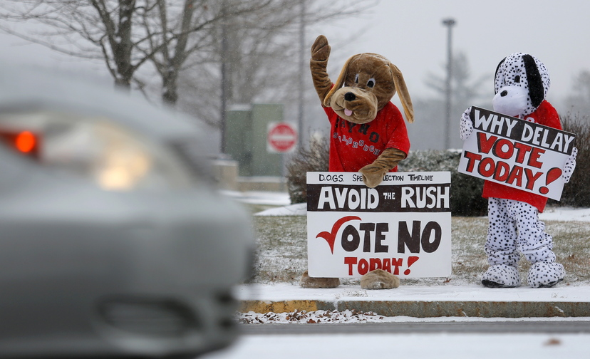 Katy Foley and Ellen O'Keefe of Scarborough dress up in dog costumes on Route 1 in Scarborough on Tuesday trying to drum up votes to repeal rules requiring dogs to be on leashes.
